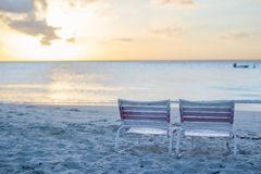 Two beach chair at caribbean resort Royalty Free Stock Image