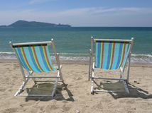 Two beach chairs Stock Photos