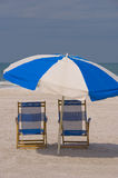 Two Beach Chairs. On the beach on Clearwater Beach, Florida Royalty Free Stock Image