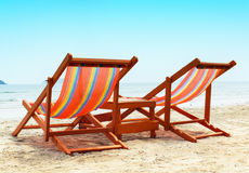 Two Beach Chairs. On the beach Royalty Free Stock Images