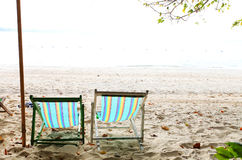 Two Beach Chairs. On the beach Stock Images