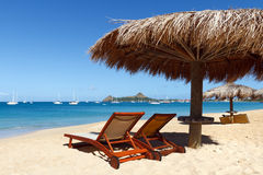Two Beach Chairs In The Caribbean Royalty Free Stock Images