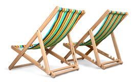 Two Beach Chairs Isolated Royalty Free Stock Photos