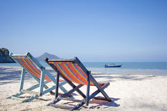 Two Beach Chairs. Relax, Vacation Concept, Two Beach Chairs at Sunset, prajuab beach Thailand Royalty Free Stock Image