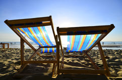 Two Beach Chairs at Sunset Stock Photography