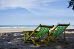 Two Beach Chairs. At beach of Thailand Royalty Free Stock Photo