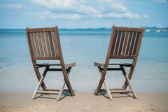 Two beach chairs on tropical shore. Phu Quoc Royalty Free Stock Images