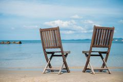 Two beach chairs on tropical shore. Phu Quoc Royalty Free Stock Image