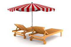 Two beach chairs and umbrella isolated on white Royalty Free Stock Photography