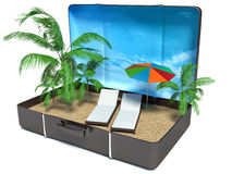 Two beach chairs and umbrella in suitcase Royalty Free Stock Photos