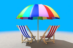 Two beach chairs under sunshade Stock Images