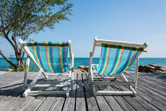 Two Beach Chairs. With Wood Deck Stock Photography