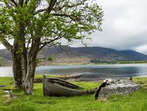 Two beached boats at Applecross. Two damaged and beached boats, one upturned, next to a tree and water at Applecross in a remote part of Scotland stock image