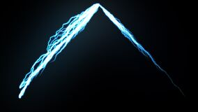 Two-beam sparkling thunder lightning on the dark. 3d rendering background, computer generating