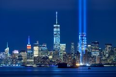Tribute in Light with skycrapers of Financial District at night. Lower Manhattan, New York City royalty free stock photo