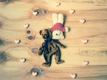 Two bear doll with marshmallow heart. Royalty Free Stock Image