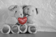 Two bear dolls holding red heart Royalty Free Stock Images