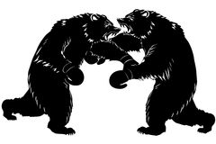 Two bear fight. Silhouette Boxer. Vector illustration Royalty Free Stock Photography