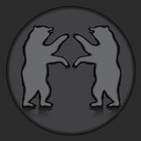 Two bear silhouette on the grey background.  illustration Royalty Free Stock Photo