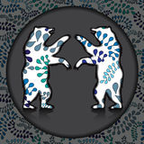 Two bear silhouette on the grey background.  illustration Royalty Free Stock Images