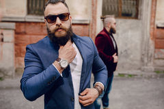 Two bearded men fashion Stock Photography
