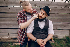 Two bearded men shave Stock Photo