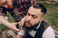 Two bearded men shave Royalty Free Stock Images