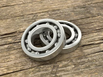 Two bearing on the background of wood dosok. Royalty Free Stock Photos