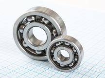 Two bearings. On graph paper royalty free stock photo
