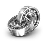 Two bearings linked together on white Stock Image