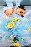Two bears. And flower are decoration on car Stock Photography