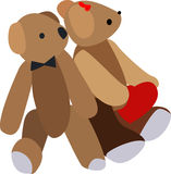 Two bears. Two  bears against white background Royalty Free Stock Image