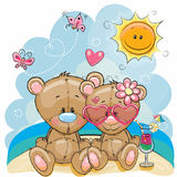 Two Bears on the beach. Greeting card Two Bears in a cap on the beach royalty free illustration