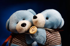 Bears on blue gradient. wallpaper. Two cute bears on blue gradient background Stock Image