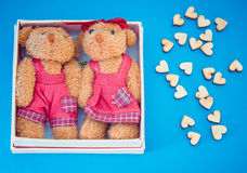 Two bears in a gift box on blue background. Two bears in a gift box with small wooden hearts on blue background Stock Images