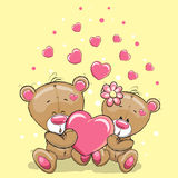 Two Bears with heart Stock Photos