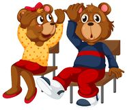 Two bears sitting down. Illustration royalty free illustration