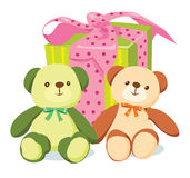 Two bears and striped gift box. Two cartoon bears and striped gift box Stock Image
