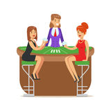 Two beatuful girls playing cards in a luxury casino. Colorful cartoon character vector Illustration Royalty Free Stock Photography