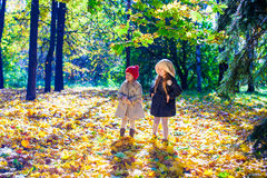 Two beautiful adorable girls walking in the fall Stock Images