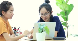 Two beautiful asian business women are working in a light and modern office and looking at laptop computer. They are discussing possibilities for future stock video footage