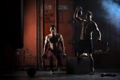 Two beautiful athlete train Stock Photos