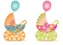Two beautiful baby carriage, Stock Image