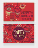 Two beautiful banners for chinese new year with lantern decoration Royalty Free Stock Images