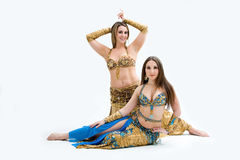 Two beautiful belly dancers Royalty Free Stock Photography