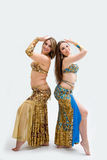 Two beautiful belly dancers royalty free stock photo