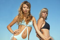 Two beautiful bikini model Royalty Free Stock Photo