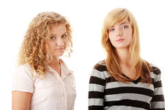 Two beautiful blond teen girlfriends Stock Photography