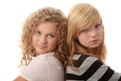 Two beautiful blond teen girlfriends Stock Images
