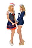 Two beautiful blonde women in carnival costumes Stock Photography